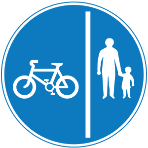 A sign indicating a split footpath and cyclepath