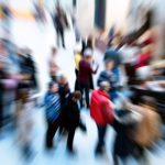 A crowd of people, blurred