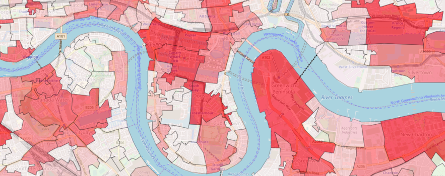 A screen grab from the Feat tool showing central London