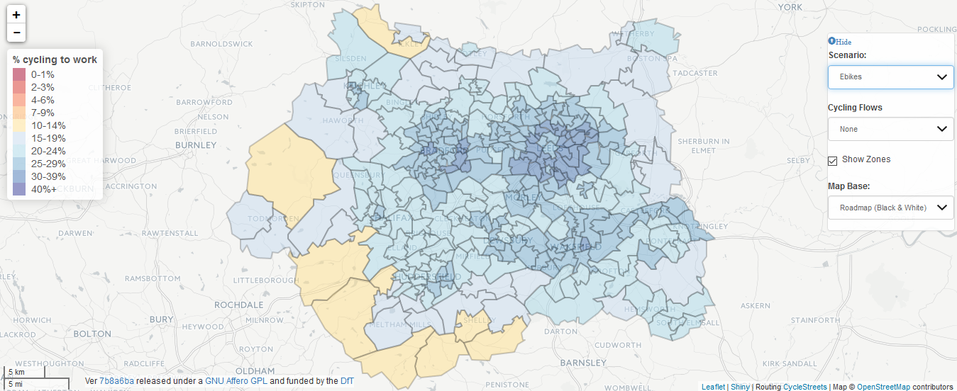 A heat map of West Yorkshire showing projected levels of cycling under the 'Ebikes' scenario. It shows even higher levels of cycling than the 'Go Dutch' scenario.