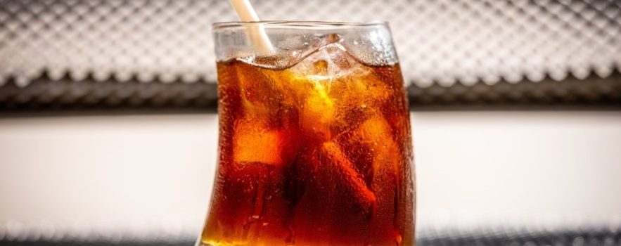 A glass of a soft drink